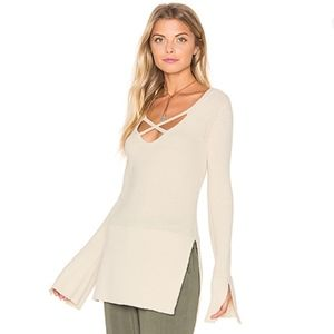 Free People Criss Cross Long Sleeve Top Size M